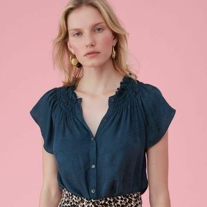 Rebecca Taylor Floral Jacquard Button Silk Blouse